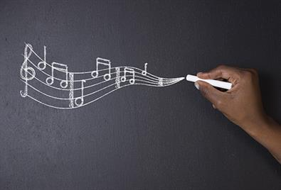 musical notes written on chalkboard