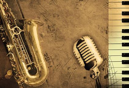 Saxophone, microphone and piano
